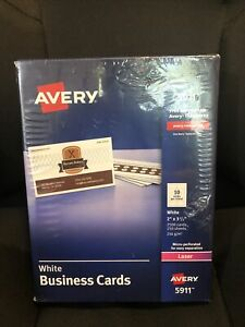 """AVERY Printable Microperforated White Business Cards 2x3.5"""" Laser 2500 Cards NEW"""