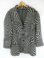 BNWT BASLER Black Cream Harlequin Kaleidoscope 3/4 Jacket Blazer Size UK 18