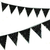 50ft Halloween BLACK Spider WEB Pennant Banner Bunting Party Decoration