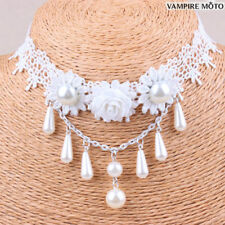 Women Bridal Dangle Choker Pearl Flower Lace Wedding Statement Bib Necklace