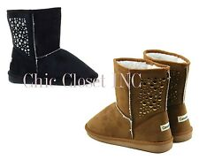 Women Studded Stars Mid Calf Ankle Faux Shearing Furry Wide Winter Flat Boots