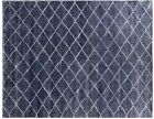6 x 7 Contemporary All-Over Cheked Modern Handmade Navy Blue Viscose Rug