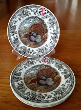 """QUEEN'S MAJESTIC BEAUTY 4 TURKEY THANKSGIVING 8"""" SALAD PLATES ENGLAND NWT"""