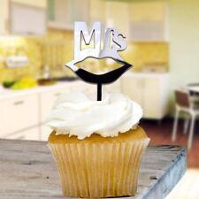 Black Mrs Cupcake Toppers x8 Baking Cake Pick Decoration Wedding