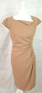 L K Bennett Camel Shift Dress Asymmetrical Flattering Gathered Detail UK Size 14