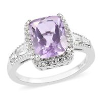 925 Sterling Silver Platinum Over Pink Amethyst Zircon Halo Ring Ct 3.4