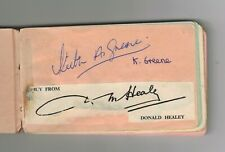 DONALD HEALEY & KEITH GREENE - HAND-SIGNED AUTOGRAPH PAGE 1950s/1960s