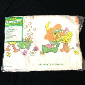 "Vintage Sesame Street Receiving Blanket Pack Of 2  30""x40"" Toddletime NEW"
