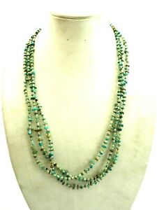 """Vintage 3 Strand Turquoise and Shell Heishi Necklace Sterling SIlver 30"""""""