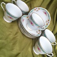 11 pc Vintage China Coffee Cups & Saucers~CX619 Turquoise Strip Pink Gold Flower
