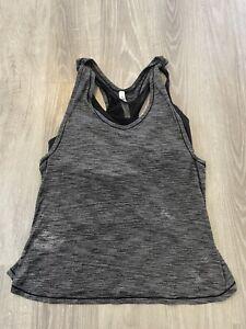 Women's Lululemon Workout T Back Tank Gray Built in Bra Size 10