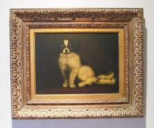 Original Artist Signed Japanese Chin Dog Framed Oil Painting