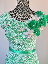 Ballroom Dance Competition Dress White Lace and Emerald Size S