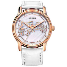SONGDU Women Watch Music Note Diamond Rose Gold Bezel Leather Strap, White F4S4