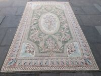 Old Traditional Hand Made French Design Wool Green Original Aubusson 282X174cm
