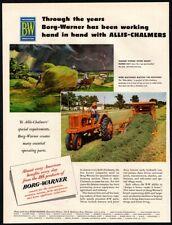 1952 BORG-WARNER - Roto-Baler Tractor - Men Moving Hay Bale Art VINTAGE AD