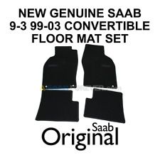 SAAB 9-3 99-03 FLOOR MAT SET BLACK CARPET W/ LOGO CONVERTIBLE NEW GENUINE OEM