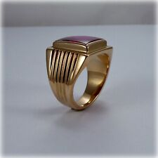 14ct Gold Gents Red Stone Pinky Ring