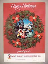 Walt Disney, Mickey Mouse, Donald Duck PRINT AD - 1972 ~Happy Holidays,Christmas