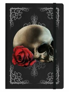 Cranial Rose, Black A5 Hard Cover Notebook, Skull Gothic Beautiful Death, Gift