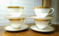 Set Of Four Royal Doulton Tea/Coffee Cups And Saucers Royal Gold Pattern (H4980)