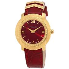 Versace DV25 Red Dial Ladies Leather Watch VAM02 0016
