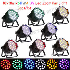 Led Zoom Par Light 10-60 Drgree 18x18W RGBWA UV 6in1 for DJ Stage Lighting 8pcs