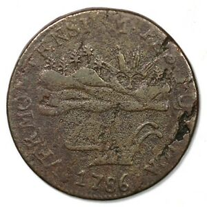 1786 RR-6 R-3 Floating Tree Vermont Colonial Copper Coin