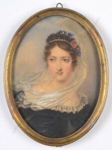 """A. Chevalier (Genevan artist) """"Young lady"""", large miniature, 1817"""