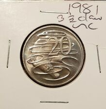 1981 3 1/2 claw Australia 20 cent coin from mint roll