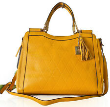 ALC® Diana, 100% Italian Leather, LG 3-Compartment Satchel w/ Strap- Mustard