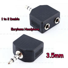New 1X3.5mm Audio Plug Headphone Earphone 1 to 2 Earbuds Double Adapter Splitter