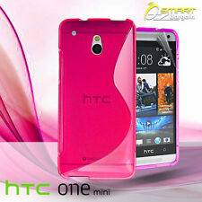 Pink S Curve Gel Case For HTC ONE Mini M4 + Screen Guard TPU Jelly Soft Cover