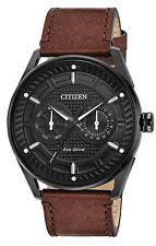 Citizen BU4025-08E Men's Eco-Drive CTO Leather Band Day Date Black Dial Watch