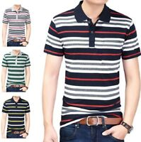 New Polo Shirt Men Striped Short Sleeve Summer Casual Fashion Breathable Shirt