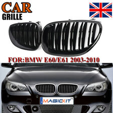 2x Front Kidney Twin Fins Gloss Black Grilles Grill For BMW E60 E61 M5 2003-2009