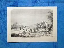 Gravure Année 1863 - Procédé employé à Metlili pour retirer l'eau des puits