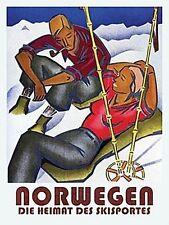 Norwegen Norway Skiing Holiday Snow Retro Art Deco Kitchen Medium Metal/Tin Sign