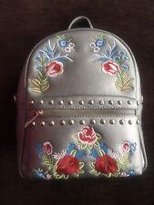 Womens Girls Metallic Embroidered Studded Backpack Rucksack Handbag 2 Way Strap