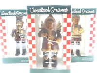 NEW Christmas Woodlook Ornament Set of 3 Santa Angel,Toy Soldier, Mrs. Claus NIB
