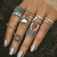 14Pcs/set Women Boho Vintage Silver Turquoise Flower Finger Knuckle Rings Gift
