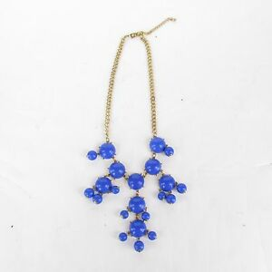 Vintage Style Blue Plastic Brass Runway Statement Bauble Dangles Necklace