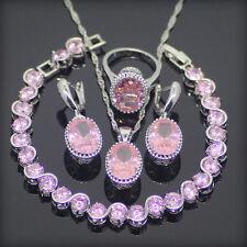 Klassisches 5-teiliges Schmuck-Set - 925er Silber mit rosa Topas
