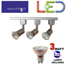 SEARCHLIGHT SATIN SILVER TRACK LIGHTING KIT SPOTLIGHTS 3 X 3 WATT LED GU10