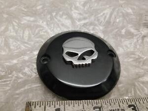 Black Billet Points Timer Cover Skull Wille Harley Softail Shovelhead 2 bolt FX