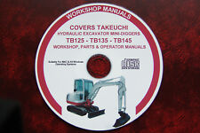 TAKEUCHI TB125  TB135  TB145  EXCAVATOR WORKSHOP MANUAL + OPERATOR + PARTS