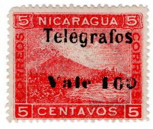 (I.B) Nicaragua Telegraphs : 10c on 5c Rose OP (1907)