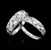 *UK Shop* 925 SILVER PLT ADJUSTABLE OPEN DIAMOND CUT PATTERNED BAND RING THUMB