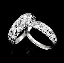 *UK* 925 SILVER PLT ADJUSTABLE OPEN DIAMOND CUT PATTERNED BAND RING THUMB LADIES