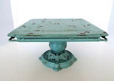 "Vintage Square Cast Iron Cake Stand Primitive Style Art Deco Green 10.5""x10.5"""